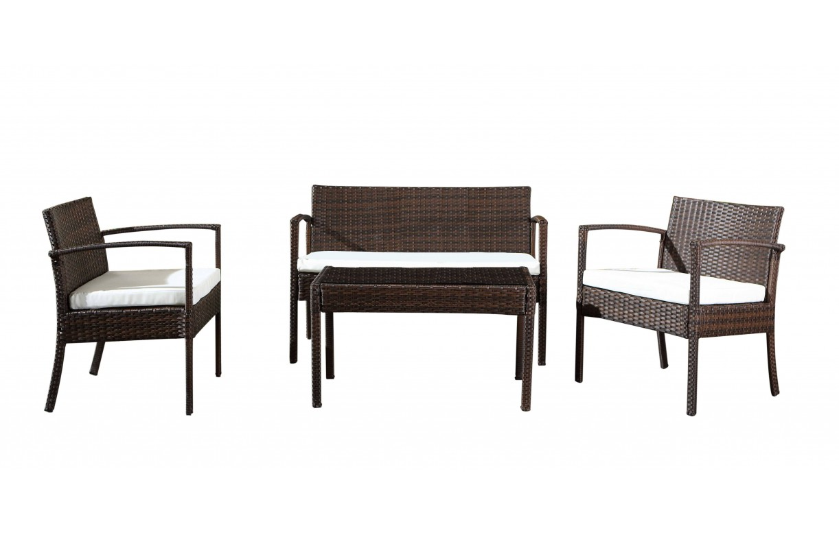 salon de jardin 4 places r sine tress e marron et cru. Black Bedroom Furniture Sets. Home Design Ideas