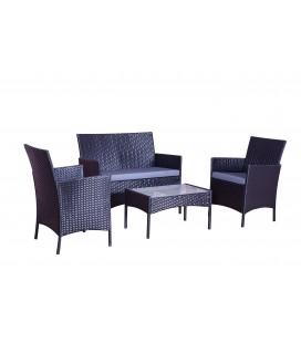 Salon de jardin noir et gris 4 places en r sine decome store for Devis enduit exterieur