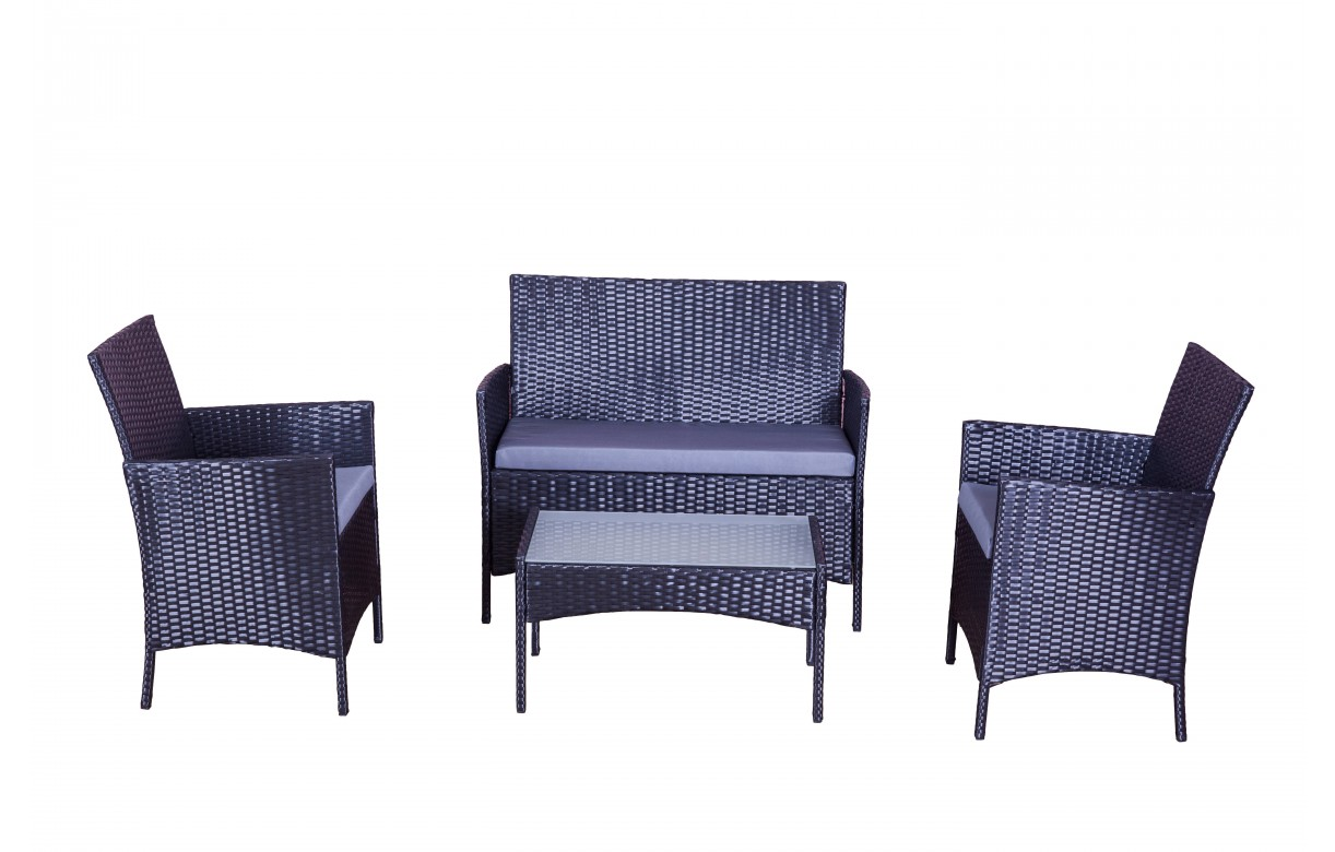 Salon de jardin noir et gris 4 places en r sine decome store - Salon de jardin resine 4 places ...