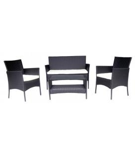 Salon de jardin noir et cru 4 places en r sine decome store for Devis enduit exterieur