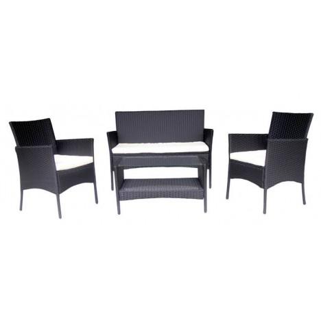 Salon de jardin noir et cru 4 places en r sine decome store - Salon en noir et blanc ...