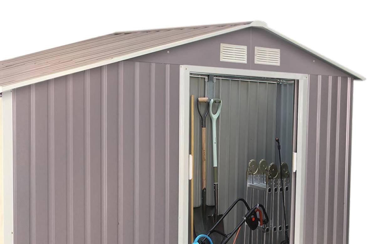 Cabanon abri de jardin en m tal gris taupe 3 5 m2 - Cabanon de jardin metal ...