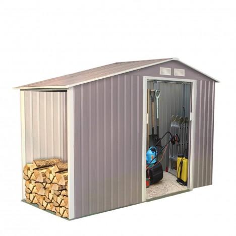 Cabanon abri de jardin en m tal gris taupe 3 5 m2 for Cabanon de jardin gris