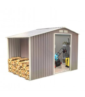 Cabanon abri de jardin en m tal gris taupe 3 5 m2 for Cabane de jardin sur mesure