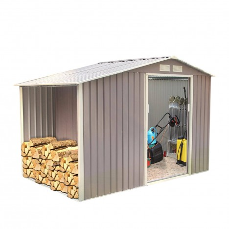 Abri de jardin en m tal gris taupe 5 3 m2 decome store for Store jardin gris
