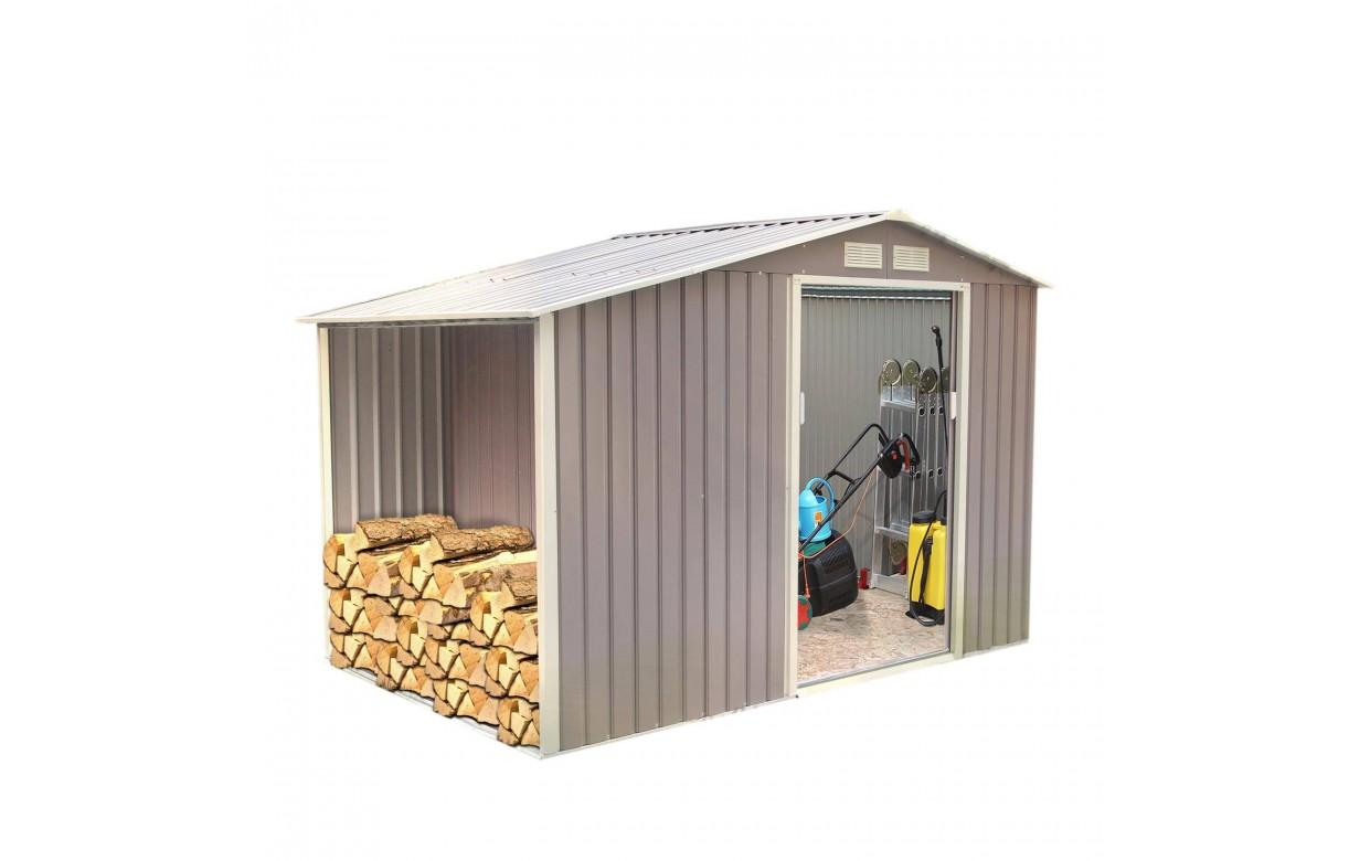 abri de jardin en m tal gris taupe 5 3 m2 decome store. Black Bedroom Furniture Sets. Home Design Ideas