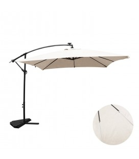 Parasol déporté 3 x 3 m blanc écru avec éclairage intégré