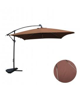 Parasol déporté 3 x 3 m Chocolat avec éclairage intégré -