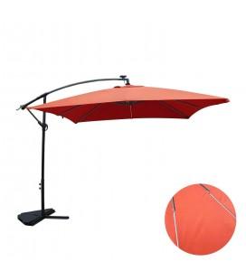 Parasol déporté 3 x 3 m Terracota avec éclairage intégré -