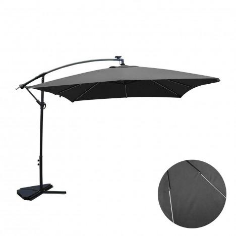 Parasol d port 3 x 3 m gris avec clairage int gr for Eclairage exterieur professionnel