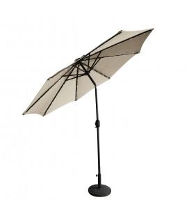Parasol droit rond 2,7 m Ecru avec éclairage LED intégré -