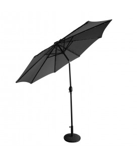 Parasol droit rond 2,7 m Gris avec éclairage LED intégré -