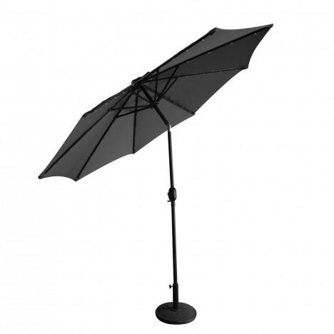 Parasol droit rond 2 7 m gris avec clairage led int gr for Eclairage exterieur professionnel