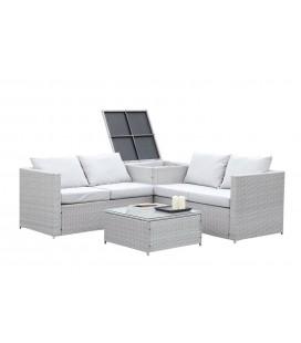 Salon de jardin 4 places avec coffre int gr gris et cru for Coffre de rangement exterieur resine tressee