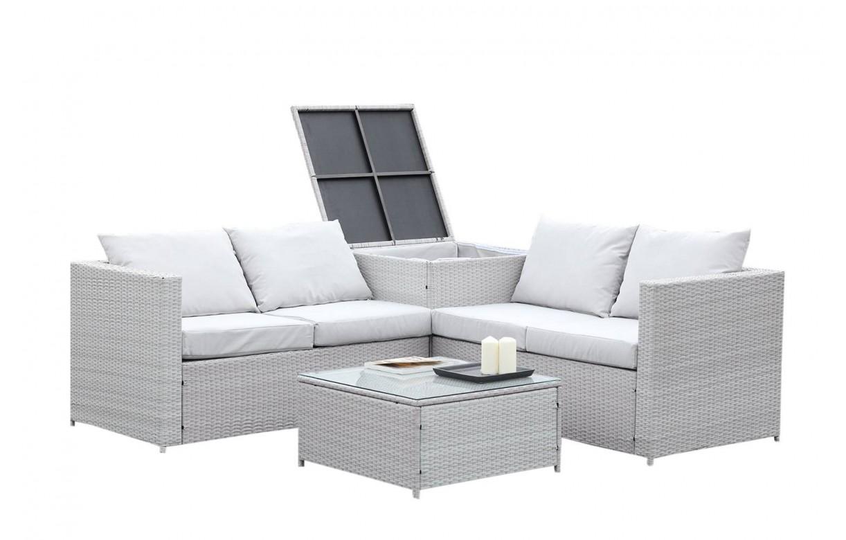 Salon de jardin 4 places avec coffre intégré gris et écru - Decome Store