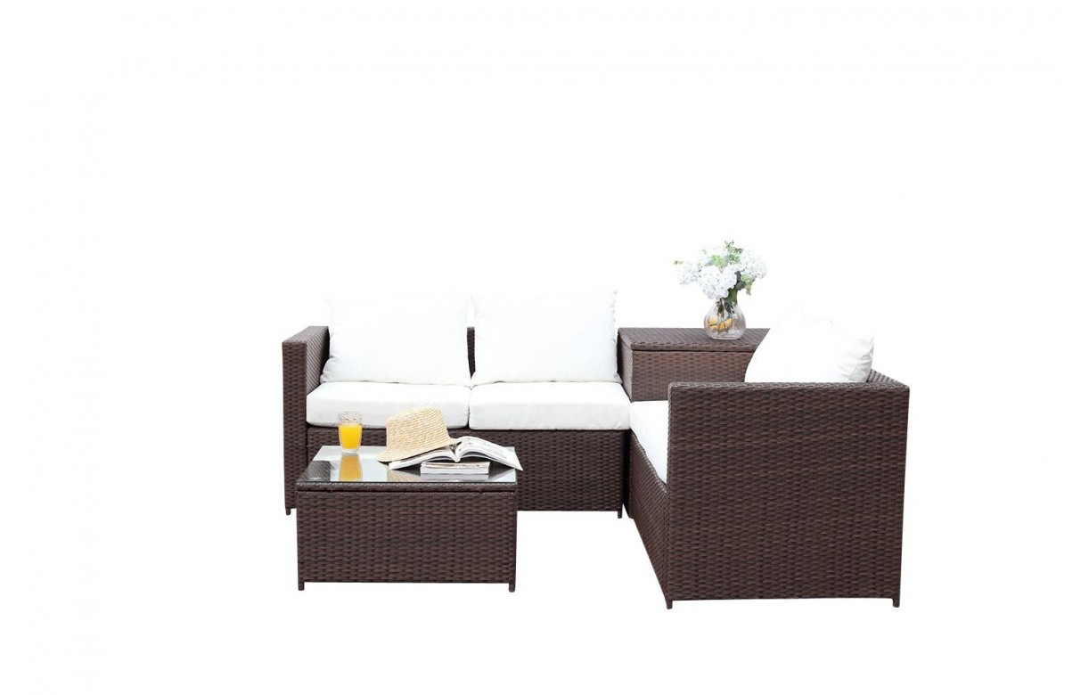 Salon de jardin 4 places avec rangement int gr marron et - Salon de jardin avec coffre de rangement ...