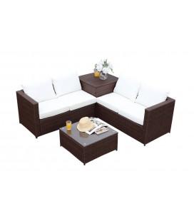 Salon de jardin 4 places avec rangement intégré marron et écru