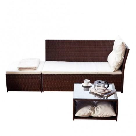 banquette m ridienne de jardin marron pouf et table basse. Black Bedroom Furniture Sets. Home Design Ideas