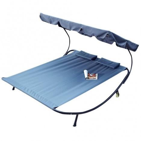 Double transat gris bleu sur pieds avec auvent intégré -