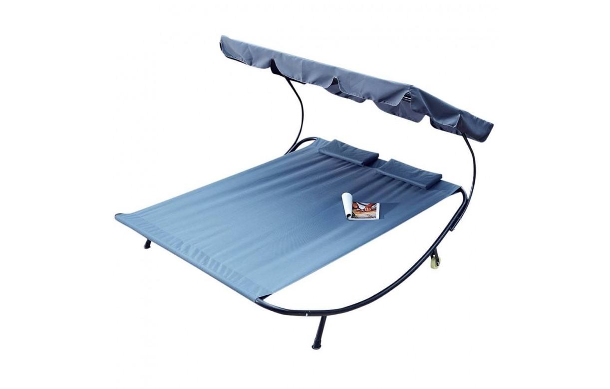 double transat gris bleu sur pieds avec auvent int gr decome store. Black Bedroom Furniture Sets. Home Design Ideas