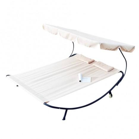 Double transat blanc écru sur pieds avec parasol intégré -