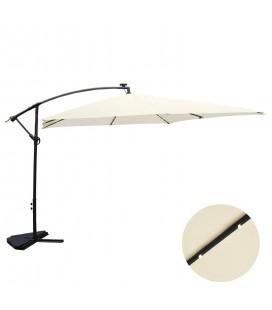 Parasol déporté 3 x 3 m Ecru avec LED solaire intégré -