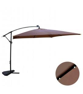 Parasol déporté 3 x 3 m Chocolat avec LED solaire intégré -