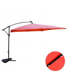 Parasol déporté 3 x 3 m Terracota avec LED solaire intégré -
