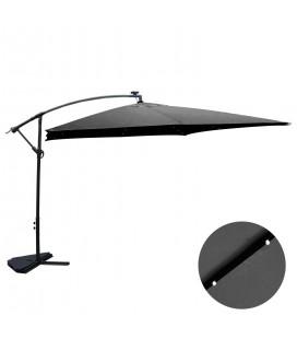 Parasol déporté 3 x 3 m Gris avec LED solaire intégré