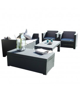 Salon de jardin gris 4 places et table basse assortie -