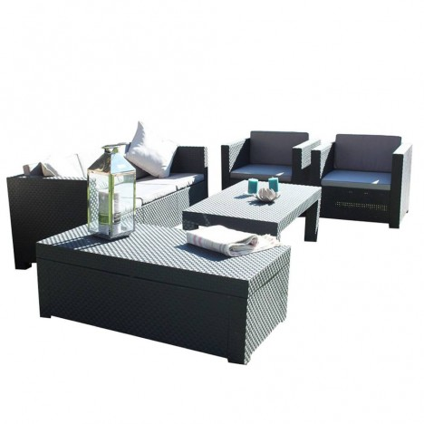 Salon de jardin gris 4 places et table basse assortie - Idee jardin basse goulaine ...