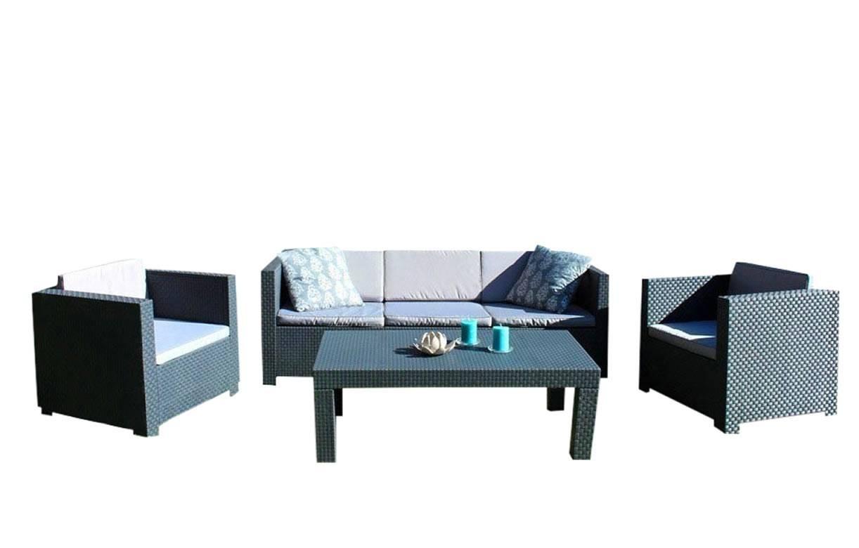 salon de jardin gris 4 places et table basse assortie decome store. Black Bedroom Furniture Sets. Home Design Ideas