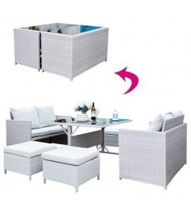 Salon de jardin encastrable gris clair 2 canapés 4 poufs et table