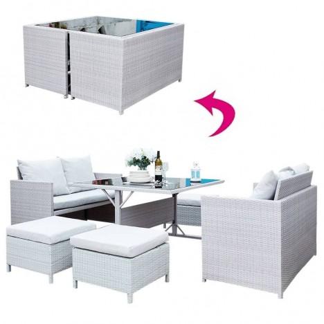 Salon de jardin encastrable gris clair 2 canapés 4 poufs et table -