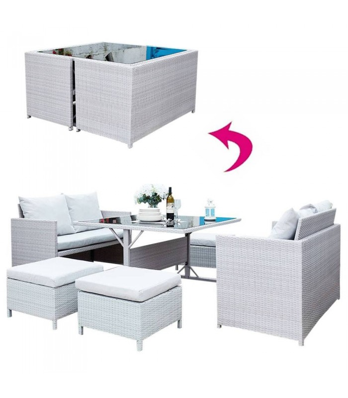 Salon de jardin encastrable gris clair 8 places for Store jardin gris