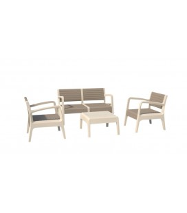 Salon de jardin design blanc et taupe 4 places -