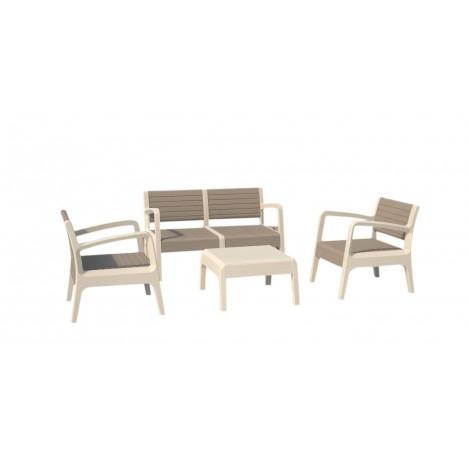 Salon de jardin design blanc et taupe 4 places - Decome Store