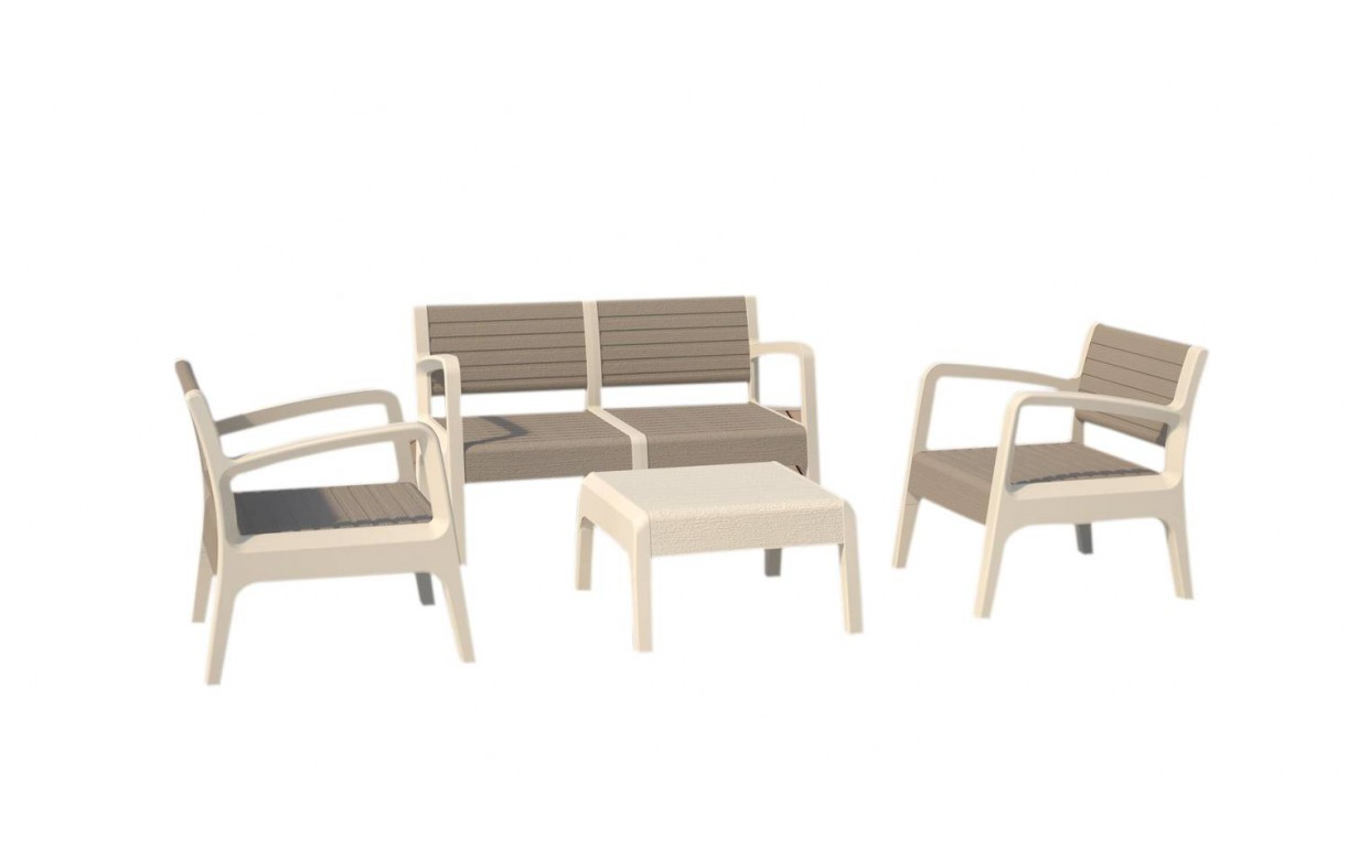 Salon de jardin design blanc et taupe 4 places - Decome Store