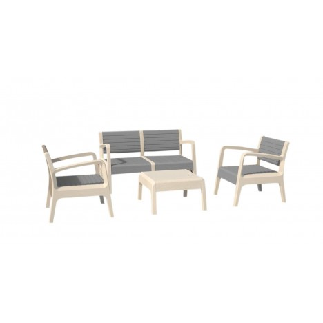 Salon de jardin design blanc et gris 4 places - Decome Store