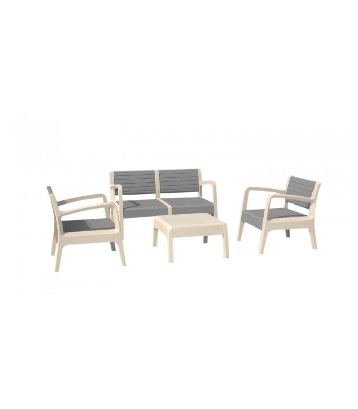 Salon de jardin design blanc et gris 4 places - Decome Store