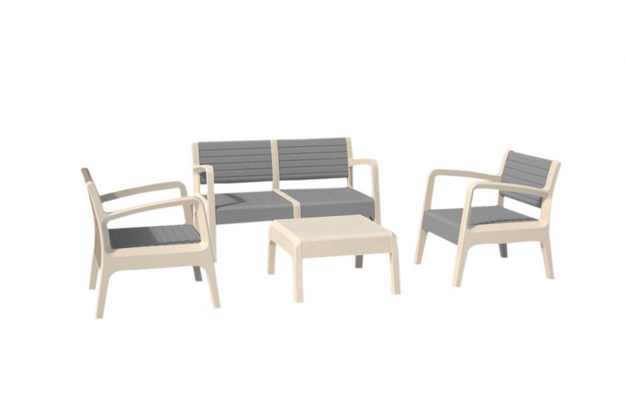 salon de jardin design blanc et gris 4 places decome store. Black Bedroom Furniture Sets. Home Design Ideas
