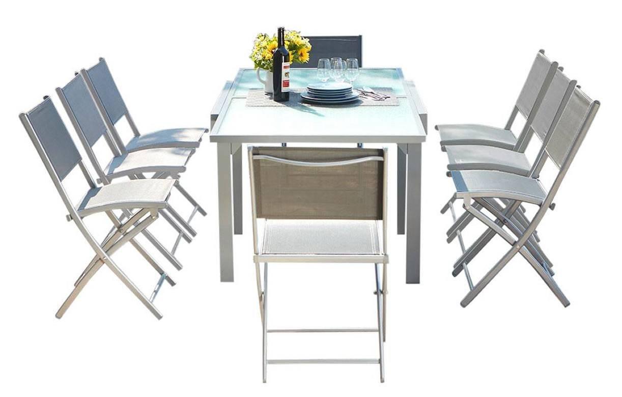 Grise Table Rallonges Chaises D'extérieur À En 8 Et Aluminium qUzpVSM
