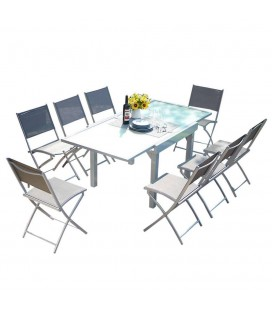 Table d'extérieur grise à rallonges en aluminium et 8 chaises