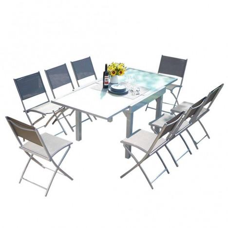 Table d'extérieur grise à rallonges en aluminium et 8 chaises -