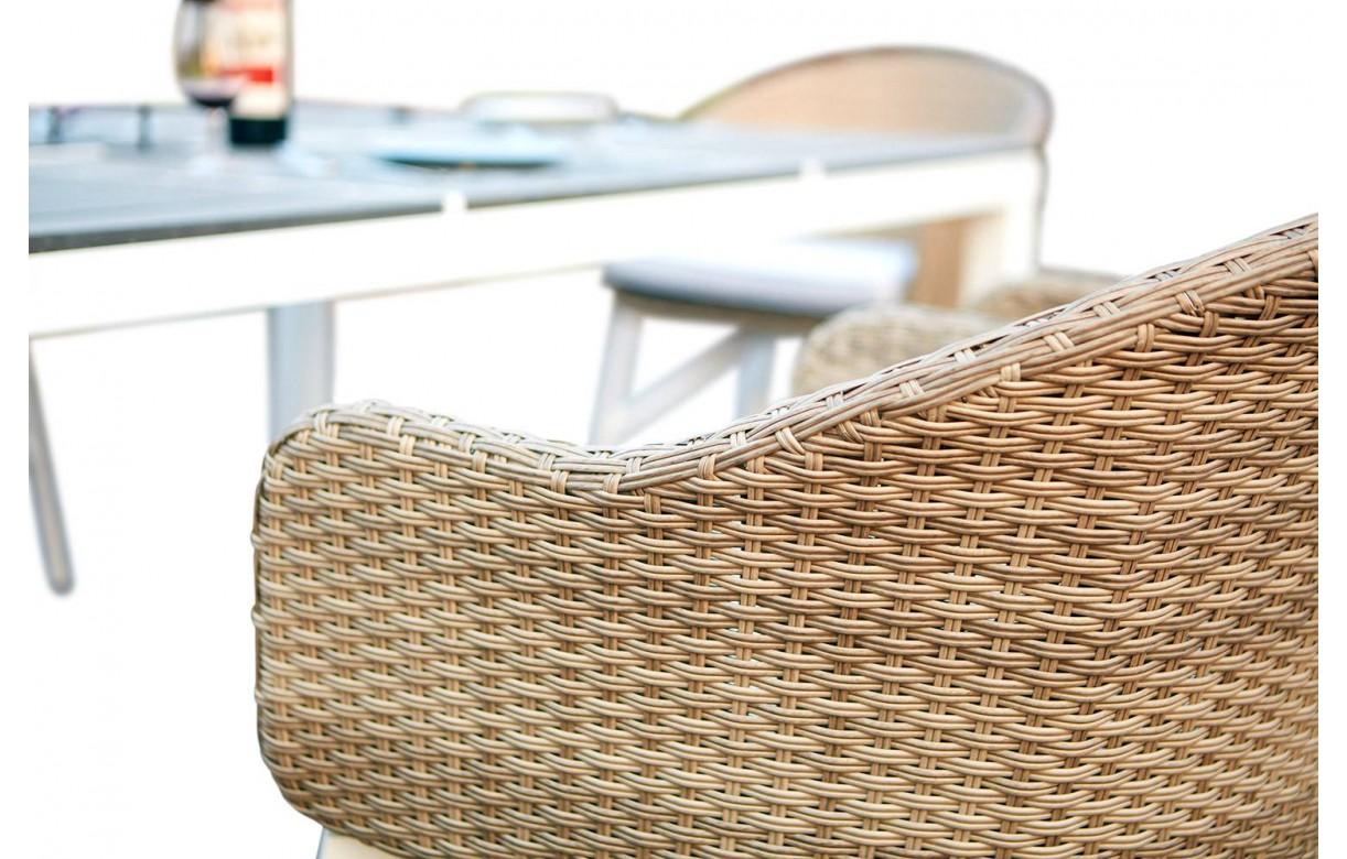 Table De Jardin Design Blanche Et 6 Chaises Rotin Decome Store