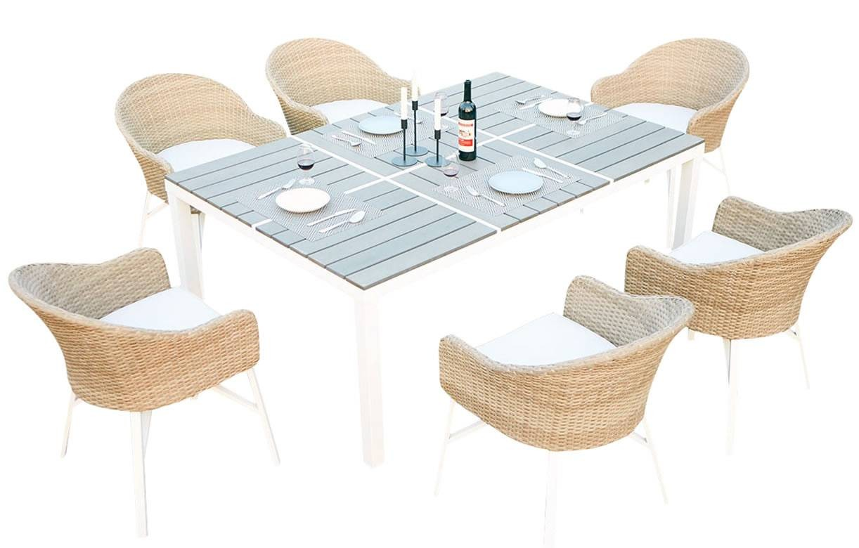 table de jardin design blanche et 6 chaises rotin decome. Black Bedroom Furniture Sets. Home Design Ideas