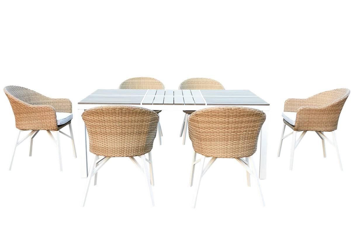 table de jardin design blanche et 6 chaises rotin decome. Black Bedroom Furniture Sets. Home Design Ideas