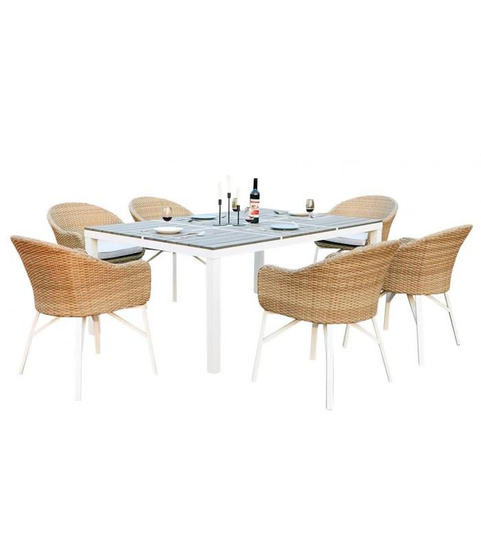 Blanche De Rotin Jardin Design Et Table 6 Chaises ChQtrdxsB