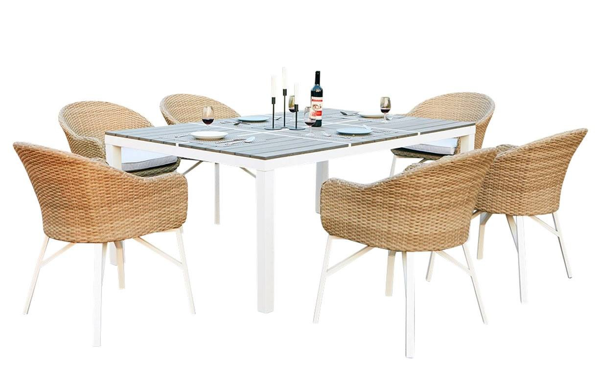 table de jardin design blanche et 6 chaises rotin decome store. Black Bedroom Furniture Sets. Home Design Ideas