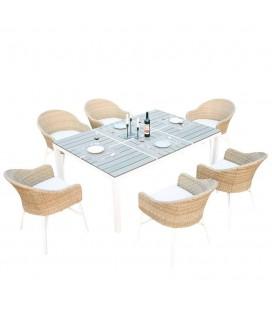 Table de jardin design blanche et 6 chaises rotin